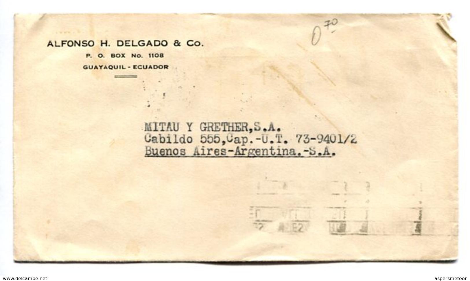 SOBRE COMERCIAL CIRCULADO GUAYAQUIL, ECUADOR A BUENOS AIRES, ARGENTINA AÑO 1942. BANDELETA PARLANTE -LILHU - Ecuador