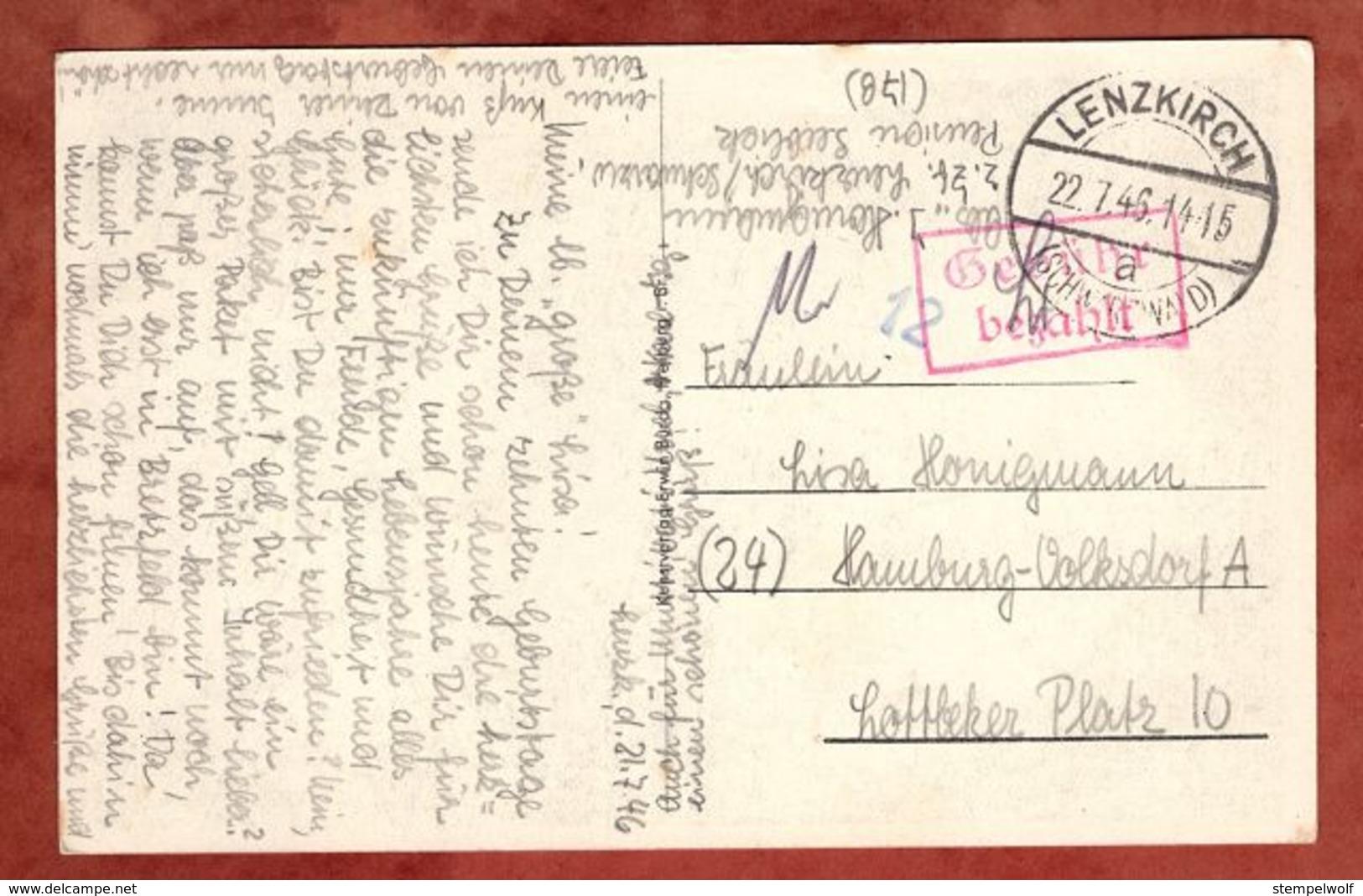 AK Muehle Schwarzwald, Rahmen Gebuehr Bezahlt, Gestempelte 12, Lenzkirch Nach Hamburg 1945 (77836) - Zone Française