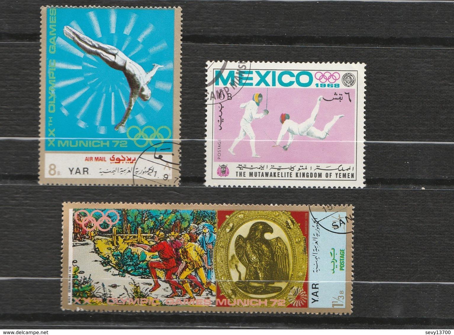 Yemen Lot 7 Timbres Jeux Olympiques Grenoble 1968 Mi YE AR 761 à 764 - Munich Mi YE-AR 1469 YE-AR 1373 Mexico YE-K 497A - Jemen