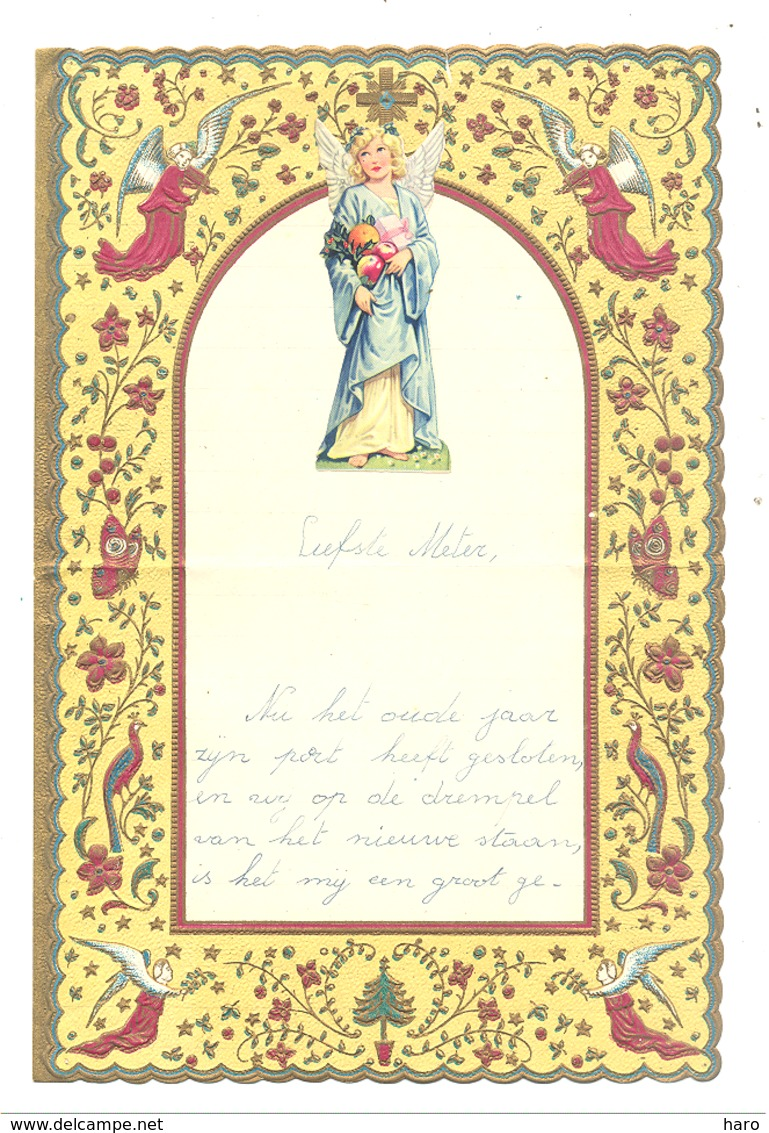 Lettre De Voeux Avec Découpis ( Anges )  KONINGSHOOIKT 1954 (b257) - Angels