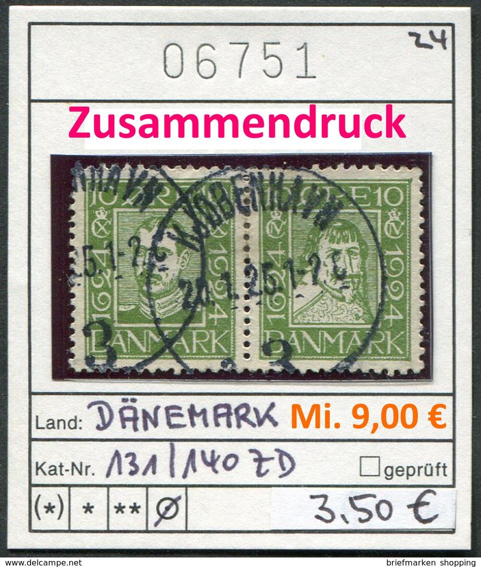 Dänemark - Danmark - Michel 131 + 140 Im Zusammendruck - Oo Oblit. Used Gebruikt - 1913-47 (Christian X)