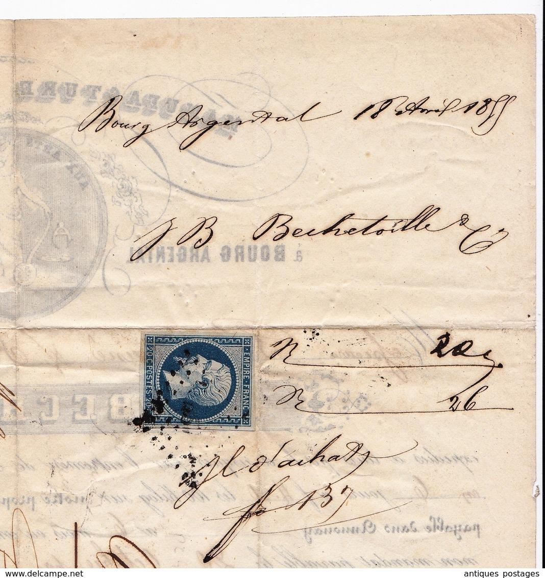 Lettre 1855 Bourg Argental Loire Manufacture De Papier Bechetoille Crest Drôme - 1853-1860 Napoléon III