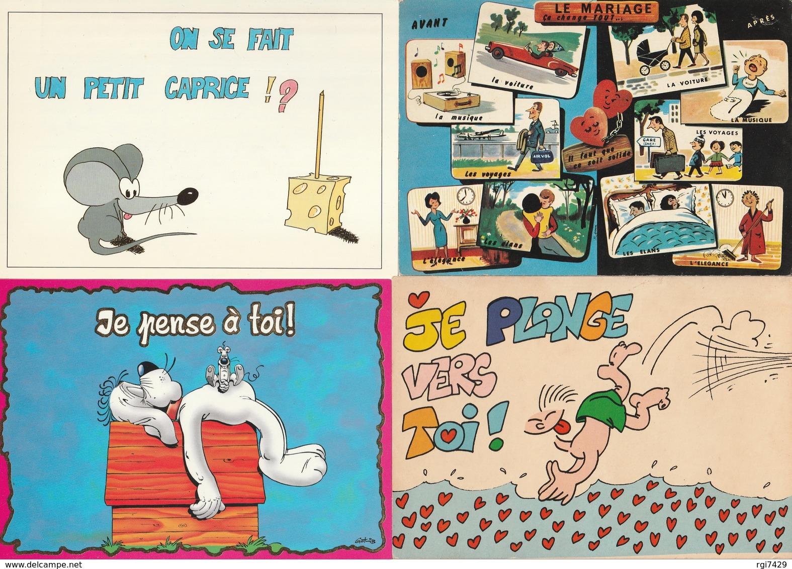 Lot De 40 Cartes Humoristiques - Postkaarten