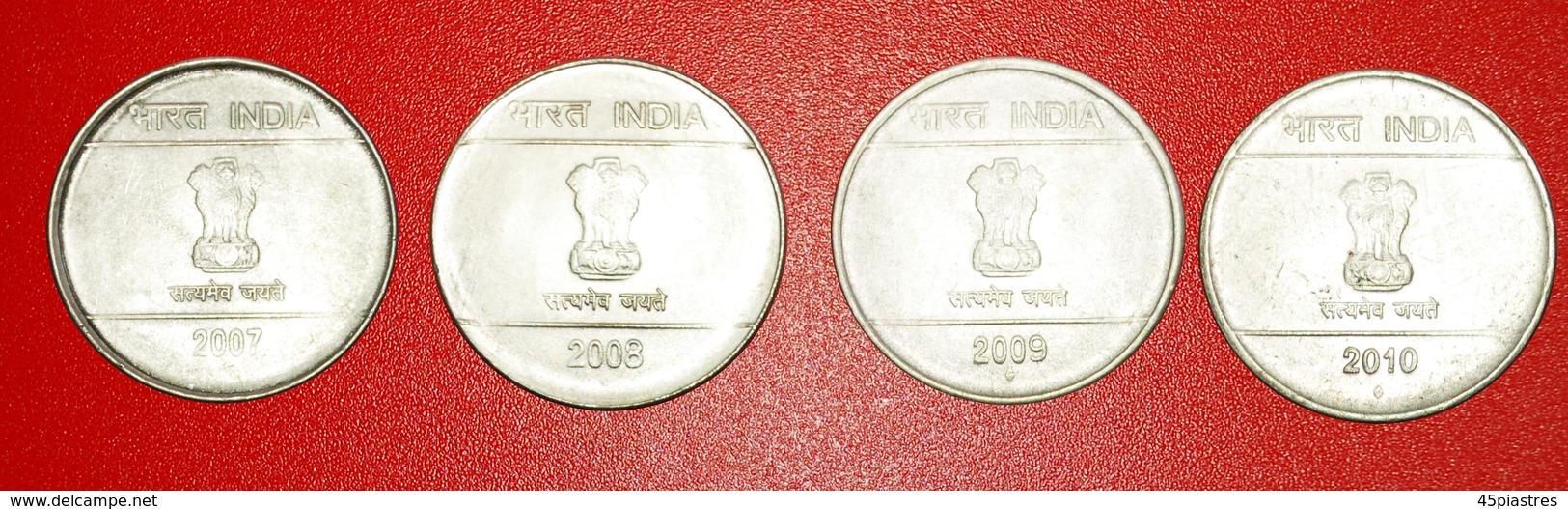 + 4 COINS SET OF SHIKHARA MUDRA: INDIA ★ 1 RUPEE 2007-2010! LOW START ★ NO RESERVE! - Kilowaar - Munten