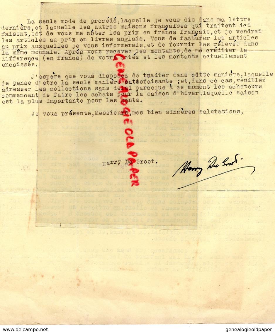 IRELANDE-IRELAND- RARE LETTRE HARRY DE GROOT IMPORTATER-DUBLIN- A GANTERIE VERGNIAUD RATINAUD SAINT JUNIEN 1928 - Royaume-Uni