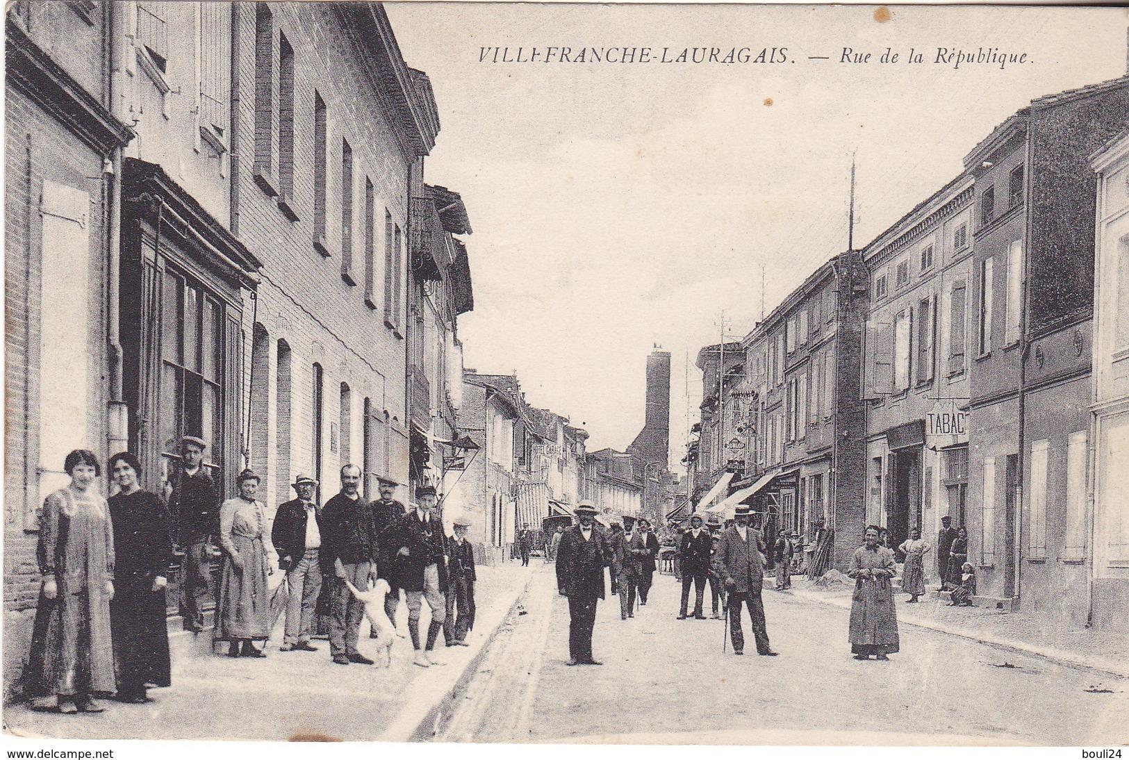 MAR - VILLEFRANCHE DE LAURAGAIS  EN HAUTE GARONNE RUE DE LA REPUBLIQUE    CPA  CIRCULEE - Frankrijk