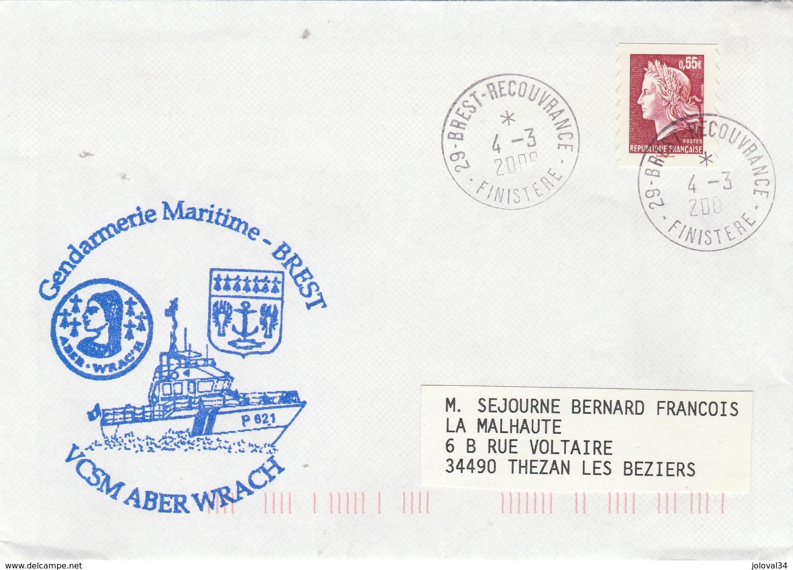Gendarmerie Maritime VCSM ABER WRACH P 621 Brest 4/3/2009 - Postmark Collection (Covers)