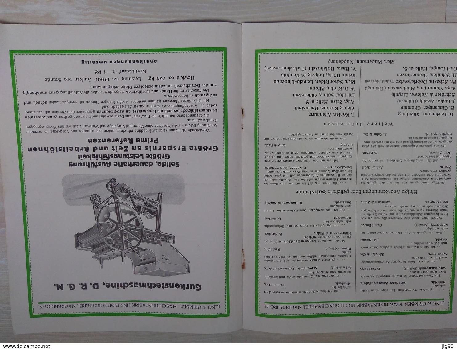 Document Jung And Grimsen, Maschinenfabrik Fur Die Sauerkraut (choucroute) Und Die Gurken-Konservierung 192x - Material Und Zubehör