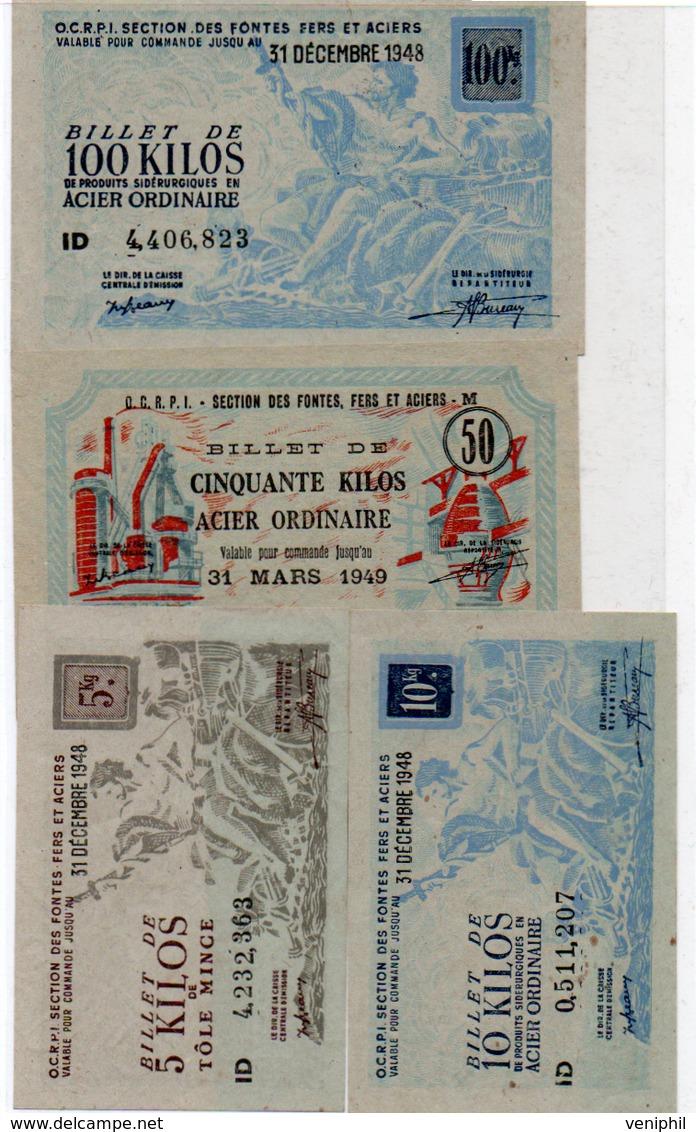 LOT DE 4 BILLETS DE L'O.C.R.PI-SECTION DES FONTES -FERS ET ACIERS -ANNEE 1948 ET 1949 - Bonos