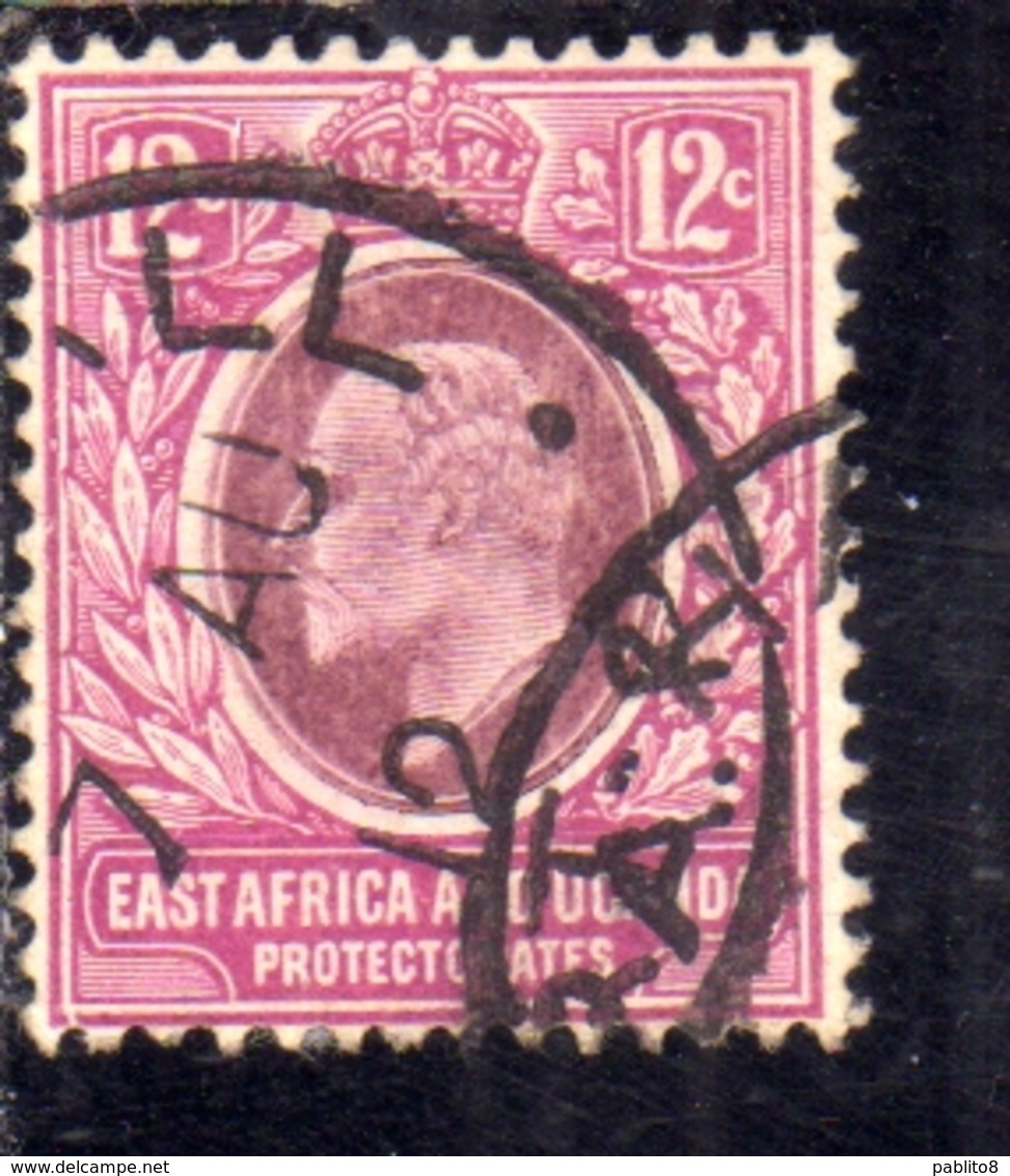 EAST AFRICA ORIENTALE & UGANDA PROTECTORATES 1907 1908 KING EDWARD VII RE EDOARDO 12c USATO USED OBLITERE' - Protectorados De África Oriental Y Uganda