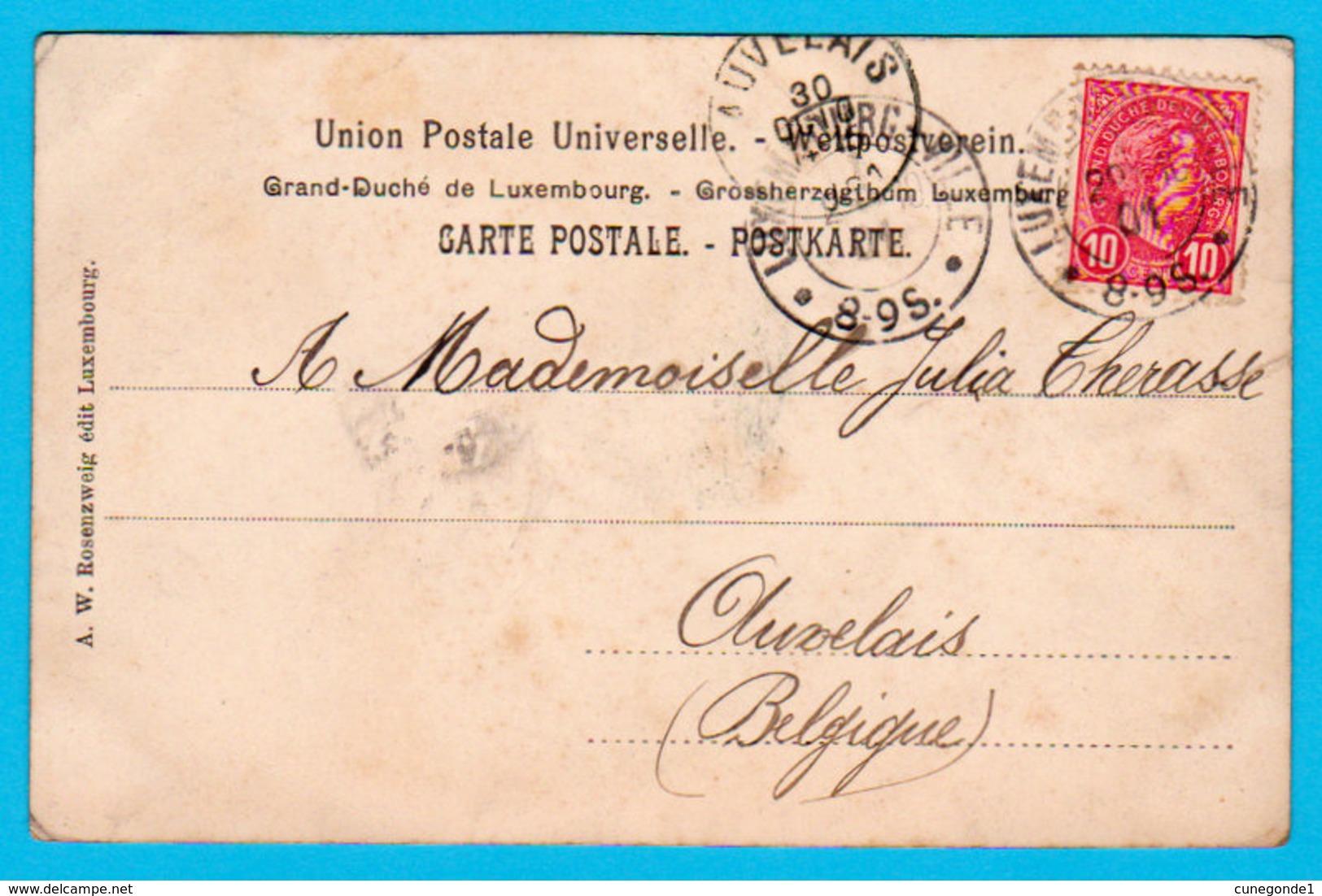 """CPA """" Souvenir De Luxembourg """" : Vue En Noir/blanc Dans Décor Art Nouveau ( Trèfles ) Circulée - Edit. Rosenzweig Luxemb - Luxemburg - Town"""