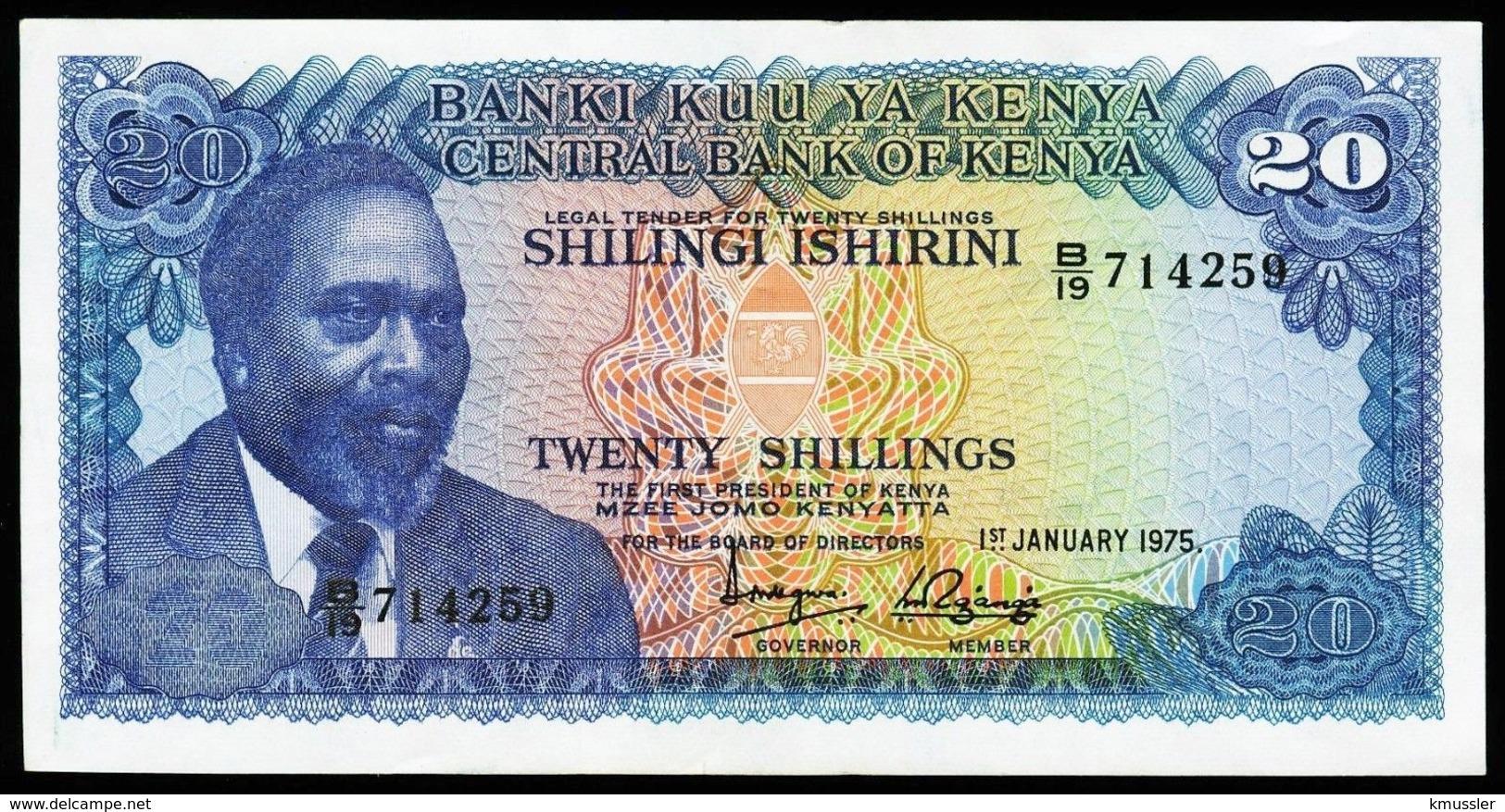 # # # Banknote Kenia (Kenya) 20 Schillingi 1975 AU+ # # # - Kenya
