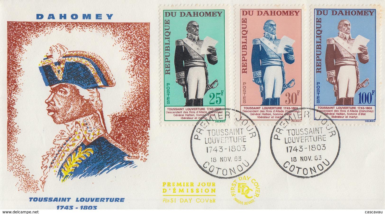 Enveloppe  FDC  1er  Jour   DAHOMEY    TOUSSAINT   LOUVERTURE    1963 - Bénin – Dahomey (1960-...)