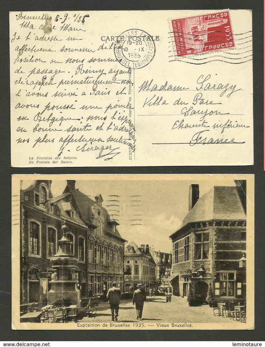 Carte Postale Exposition / BRUXELLES 08.09.1935 >>> SAUJON - 1935 – Brüssel (Belgien)