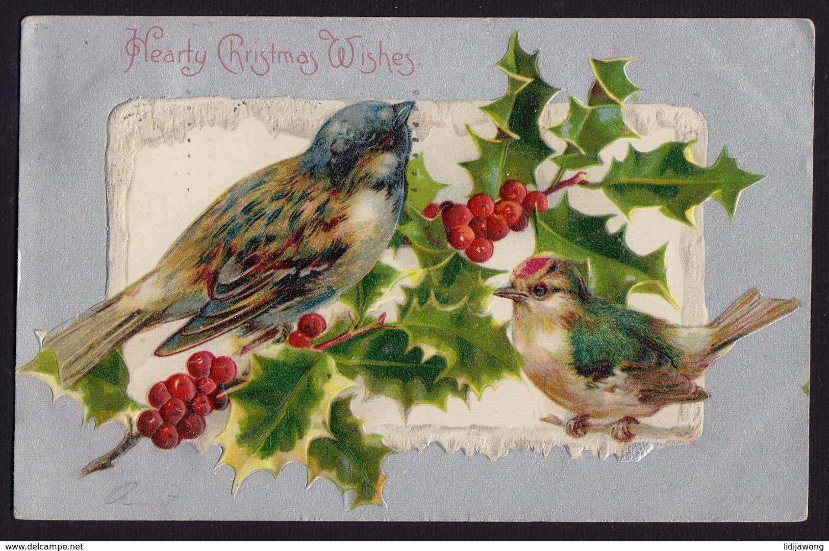 JOYEUX NOEL WEIHNACHTEN CHRISTMAS EMBOSSED Pmk LAKEWOOD NEW JERSEY Sparrow 1901  OLD POSTCARD (see Sales Conditions) - Kerstmis