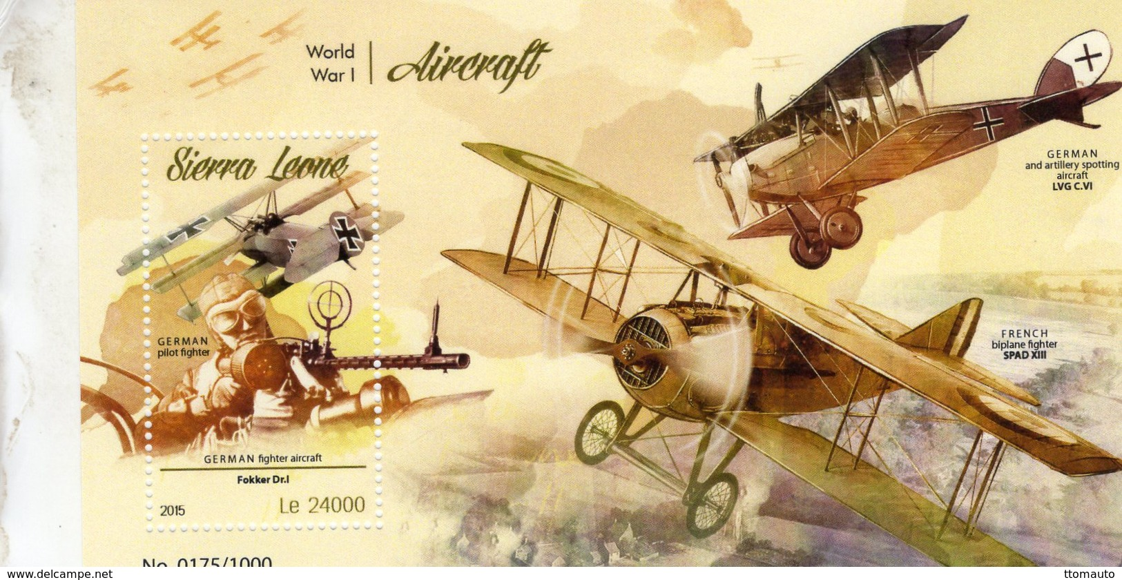Sierra Leone 2015  -  Aicraft Of World War I  -  Spad - LVG - Fokker  -  1v MS Neuf/Mint/MNH - Aerei