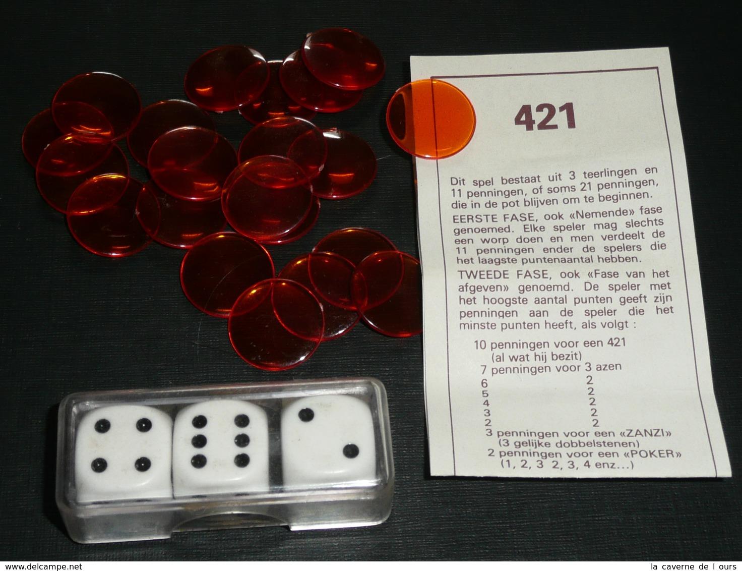 Rare Jeu De 421 Avec Dés, Jetons Plastique Et Notice - Jeux De Société