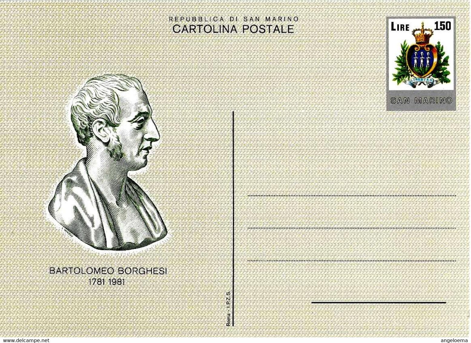 SAN MARINO - 1981 Cent. BARTOLOMEO BORGHESI Numismatico Ed Epigrafista Cartolina Postale Nuova - 463 - Altri