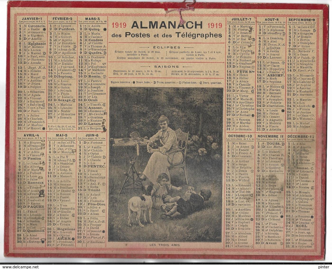 CALENDRIER De 1919 - Format 26.5 X 21 Cm - 1 Feuillet Au Verso De La Gironde - Kalender
