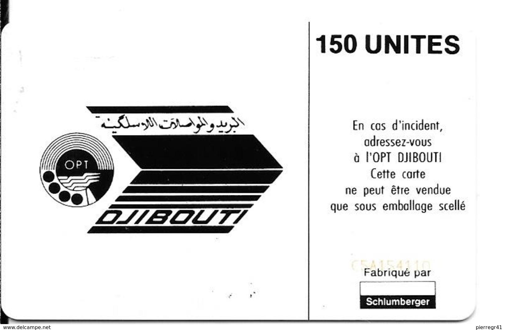 CARTE-PUCE-OPT-DJIBOUTI-150U--SC7-La STID-V° N° C 5A154110-décallé Dans LogoSchlum-TBE - Dschibuti