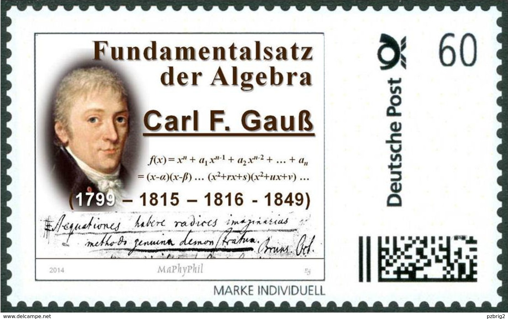 GAUSS, C.F. - Fundamental Theorem Of Algebra - Mathematics, Mathematician - Marke Individuell - Sonstige