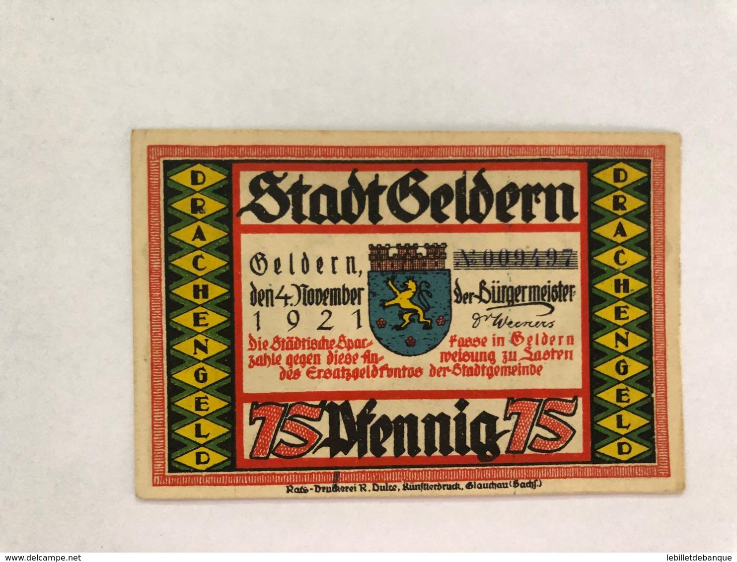 Allemagne Notgeld Geldern 75 Pfennig - Sammlungen