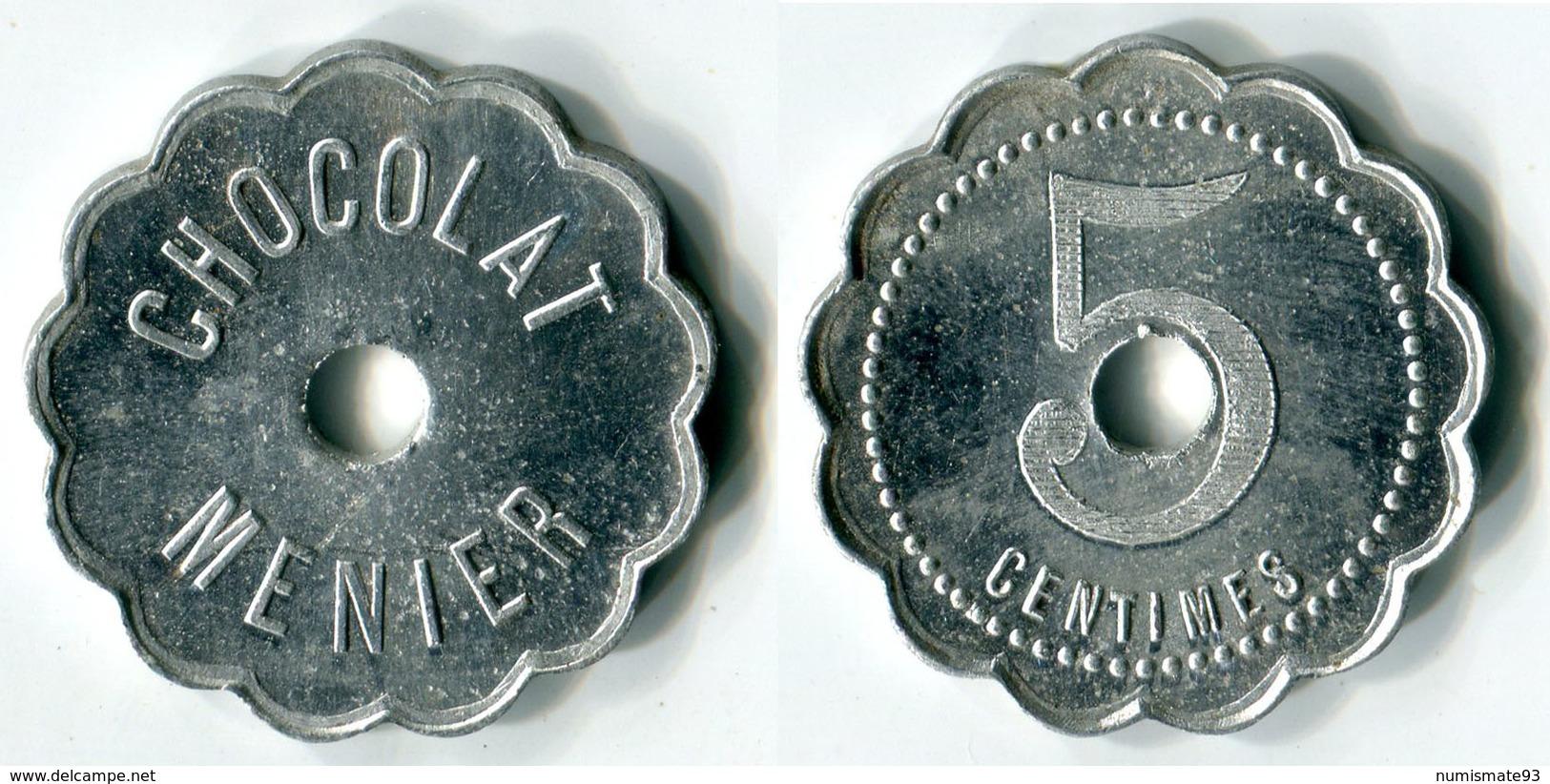 """N93-0591 - Monnaie De Nécessité - Noisiel - Chocolat Menier - 5 Centimes Type 2 Avec """"centimes"""" Au Revers - Monétaires / De Nécessité"""