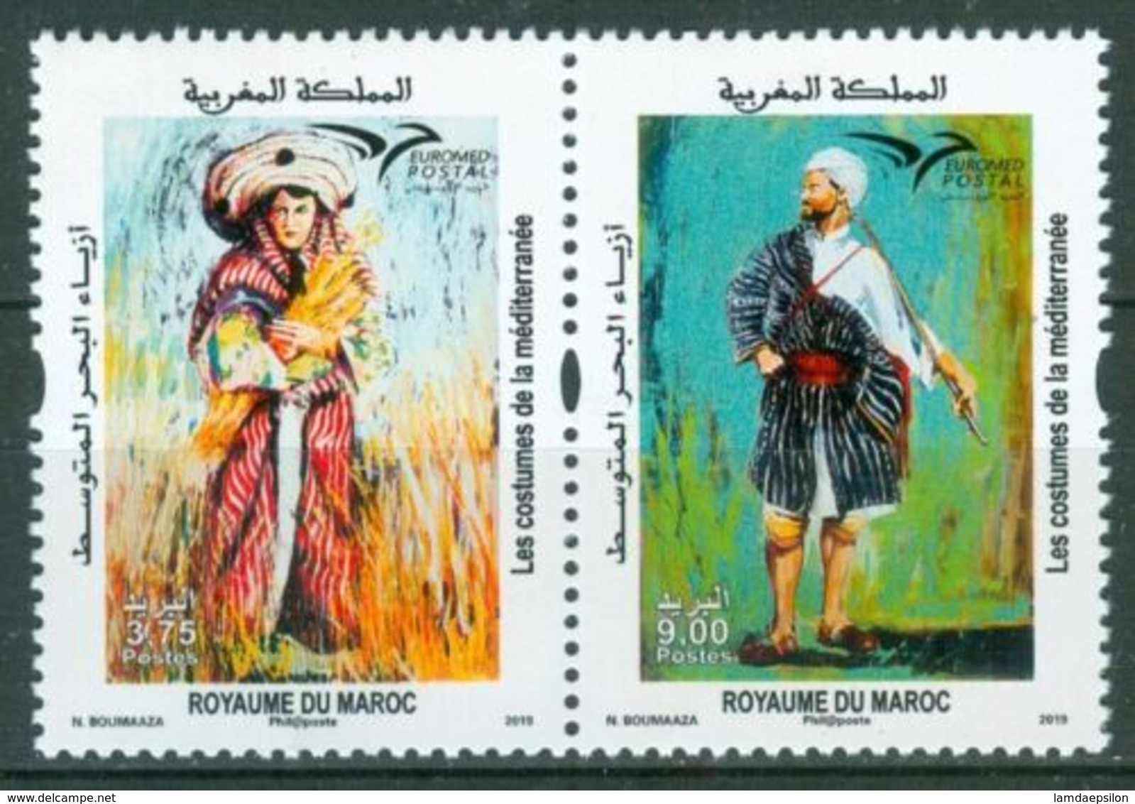MOROCCO MAROC MAROKKO DEUX TIMBRES LES COSTUMES DE LA MEDITERRANEE 2019 - Morocco (1956-...)
