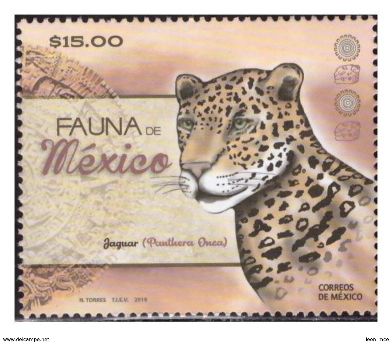 2019 MÉXICO  Fauna De México, Jaguar (Panthera Onca) STAMP MNH, FELINOS Mexico Wildlife, AZTEC CALENDAR, ARCHEOLOGY - Mexico