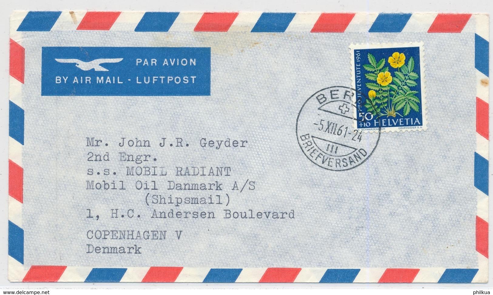 Portogerechte Mischfrankatur Auf Luftpostbrief Gelaufen - BERN - COPENHAGEN DK - Pro Juventute
