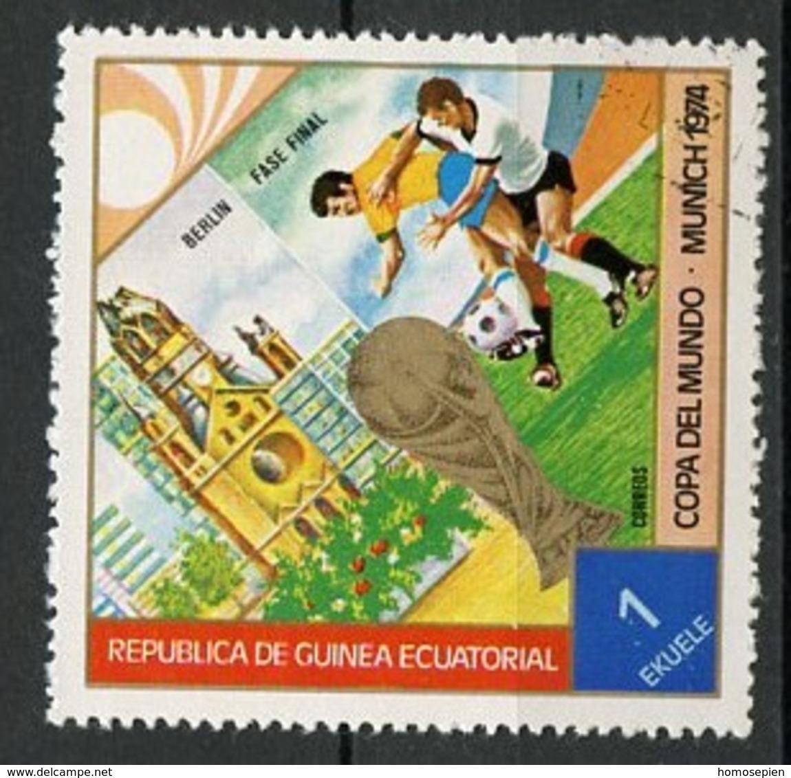 Guinée Equatoriale - Guinea 1974 Y&T N°42-1e - Michel N°(?) (o) - 1e Coupe Du Monde à Munich - Guinée Equatoriale