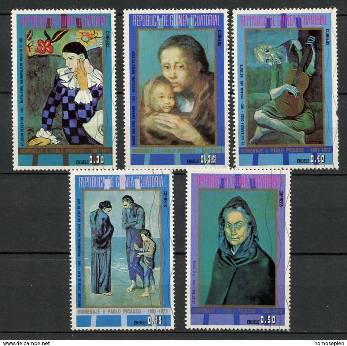 Guinée équatoriale - Guinea 1973 Y&T N°40 - Michel N°321 à 325 (o) - Hommage à Pablo Picasso - Guinée Equatoriale