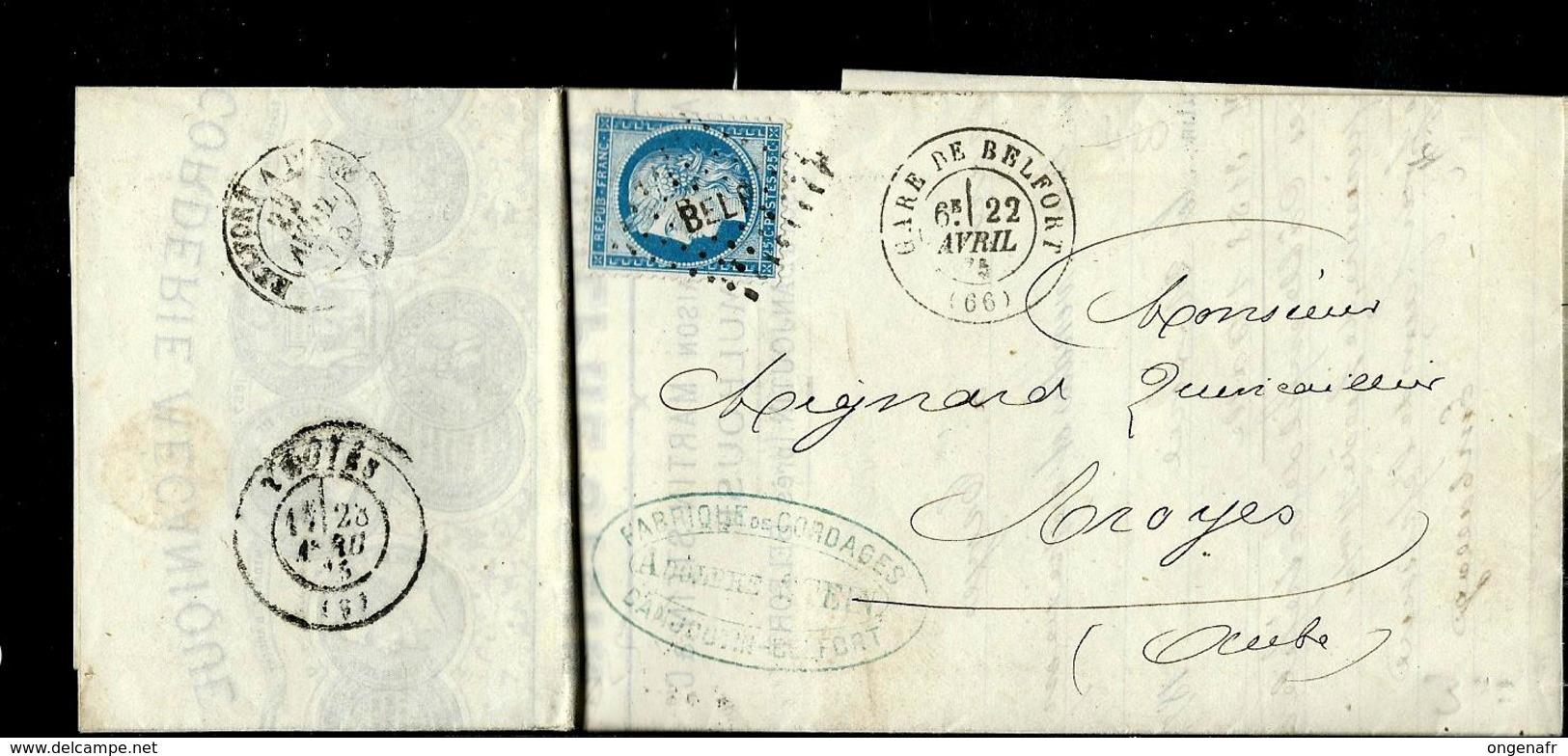 LAC Avec Céres  Obl. Gare De Belfort 22/04/1875 Pour Troyes - Marcophilie (Lettres)