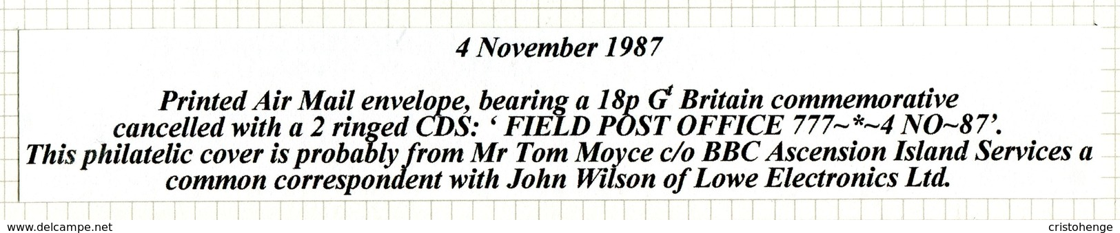 Ascension 1987 BFPO Forces Field Post Office 777 Cover To England - Ascension
