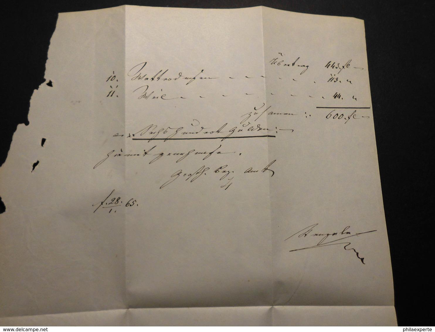 Baden Dienstbrief+Inhalt 1865 Postablage Blumenfeld/Gotmadingen Nach Engen Mit AK RA 2-selten - Baden