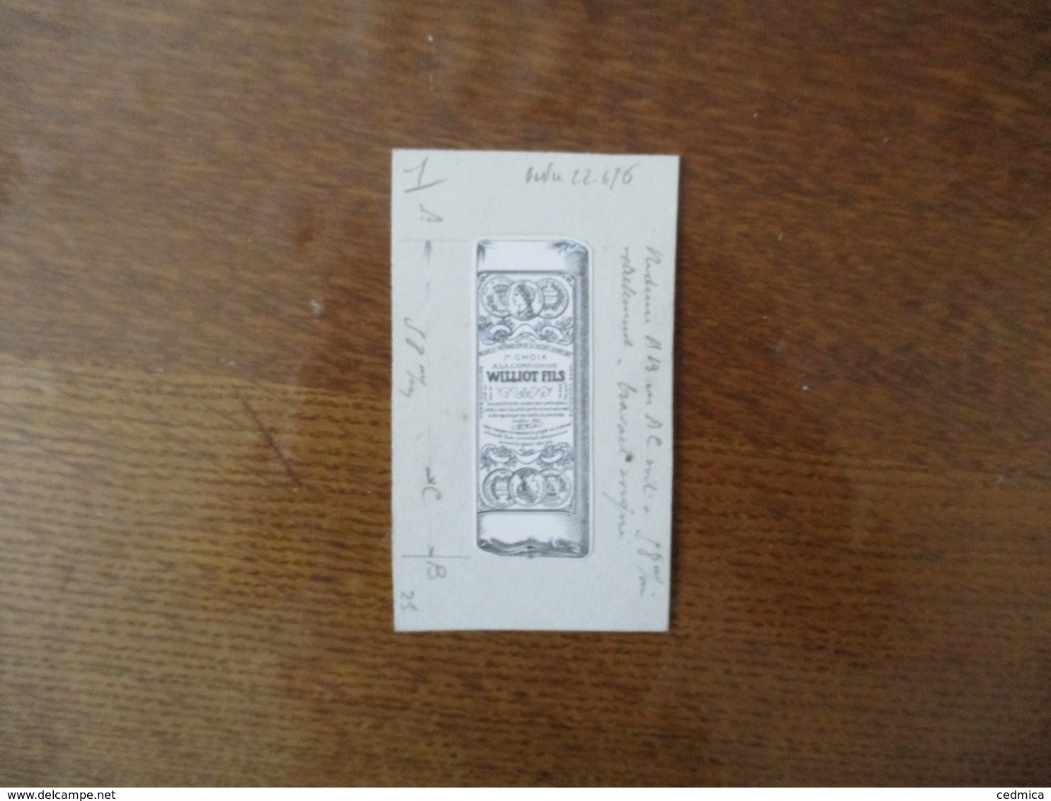 WILLIOT FILS A LA CONCORDE NOUVELLE PREPARATION DE LA CHICOREE GENRE CAFE PETITE EPREUVE PUBLICITAIRE 8cm/3cm - Reclame