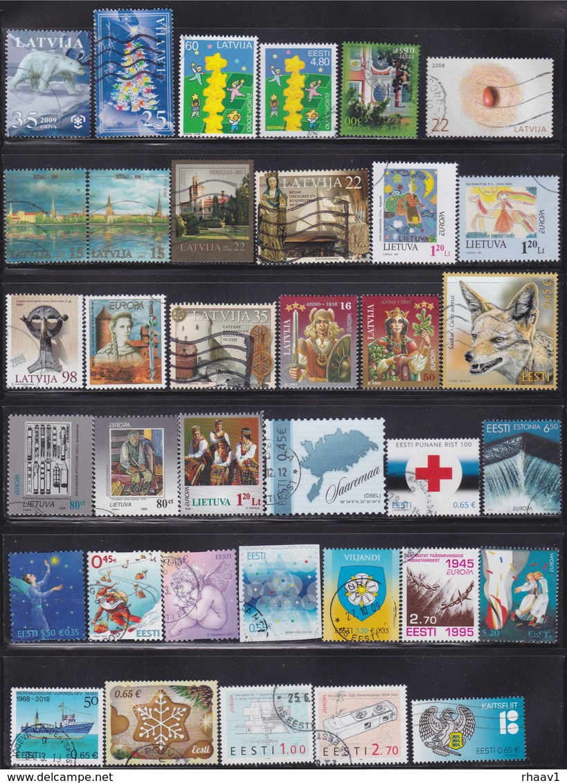 Estonia, Latvia, Lithuania 92 Used Stamps - Sammlungen (ohne Album)