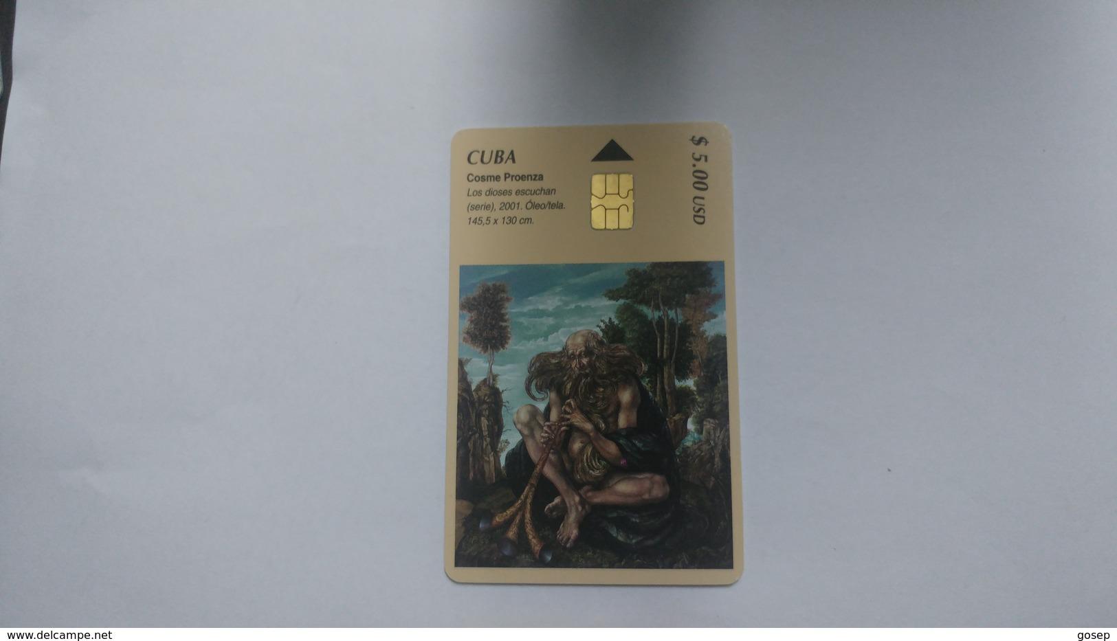 Cuba-cosme Proenza-($5.00)-tirage-30.000-used Card+1card Prepiad Free - Cuba