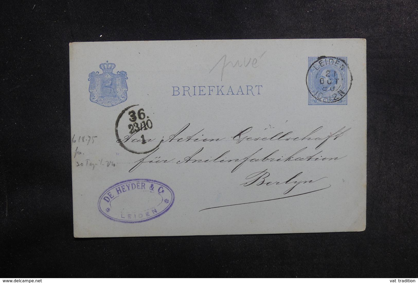 PAYS BAS - Entier Postal Commercial ( Repiquage Au Verso ) De Léiden Pour Berlin En 1886 - L 39647 - Entiers Postaux