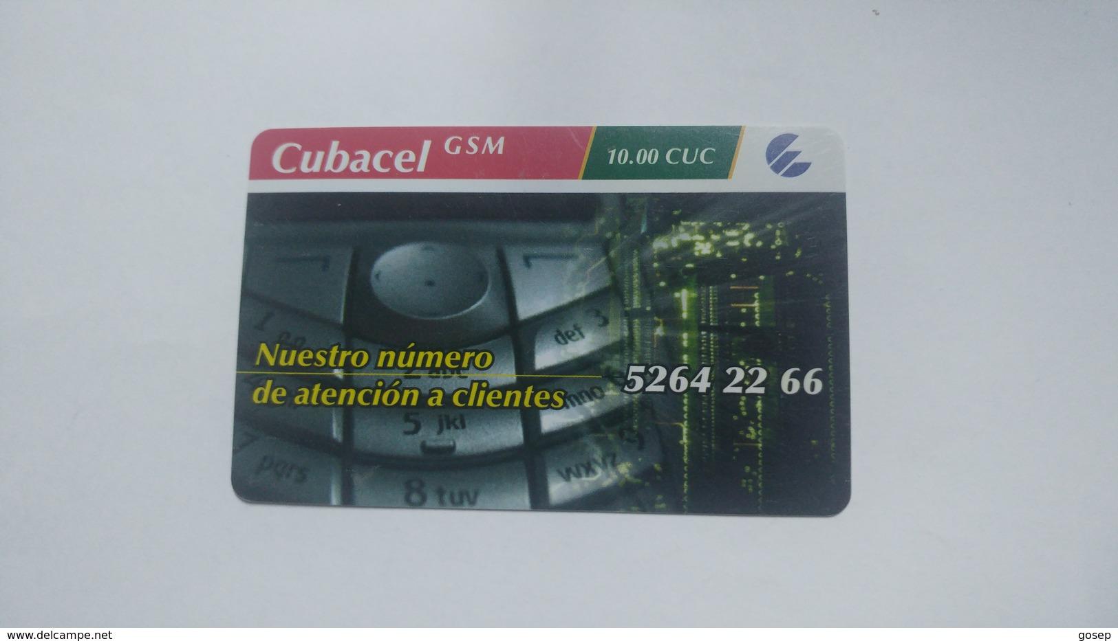 Cuba-etecsa Cubacel G.s.m.-(10.00cuc)-used Card+1card Prepiad Free - Cuba