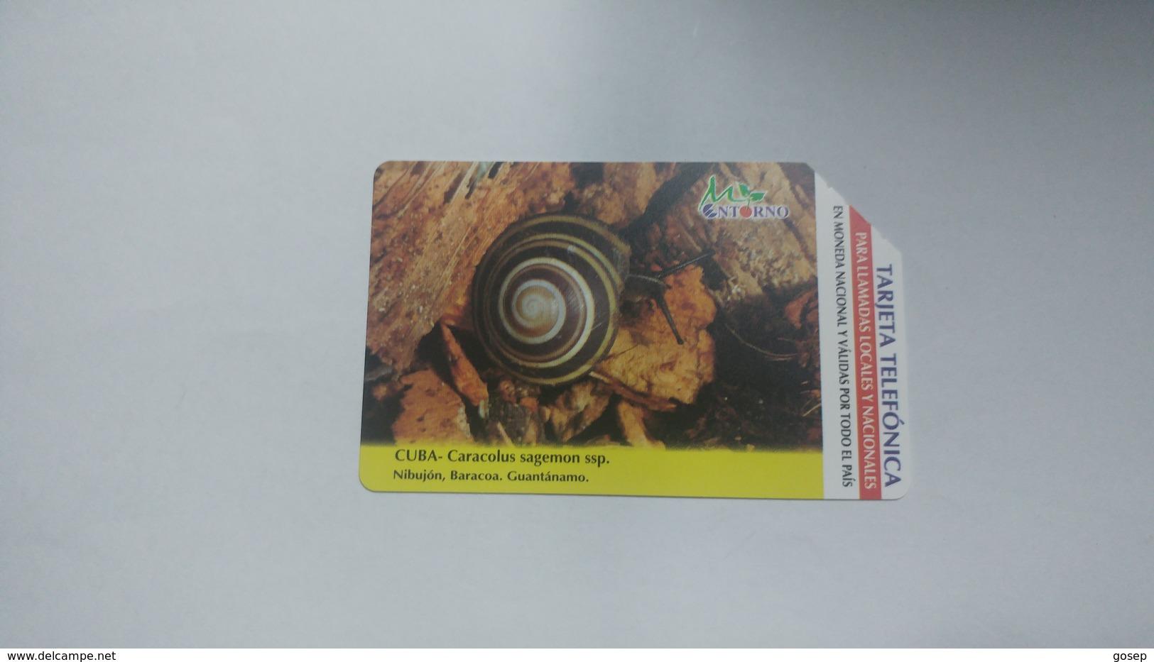 Cuba-caracolus Sagemon-urmet-(5.00pesos)-used Card+1card Prepiad Free - Cuba