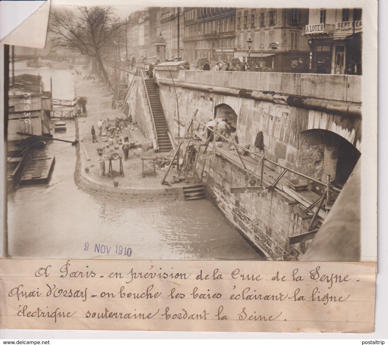 CRUE DE LA SEINE  QUAI D'ORSAY  18*13CM Maurice-Louis BRANGER PARÍS (1874-1950) - Lieux