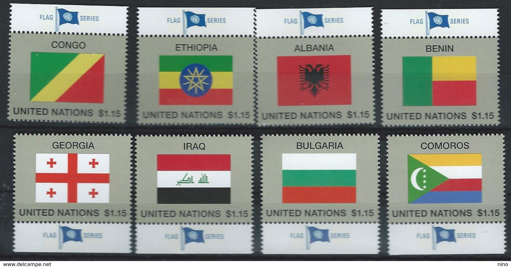 UN-New York. Scott # 1150-57 MNH. Nation Flags 2017 - Unused Stamps