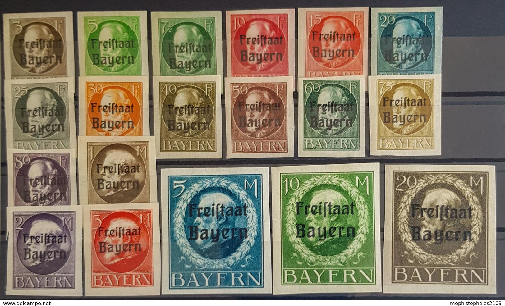 "BAVARIA - MLH - Mi 152B - 170B - ""Freistaat Bayern"" - Full Set! - Bayern (Baviera)"