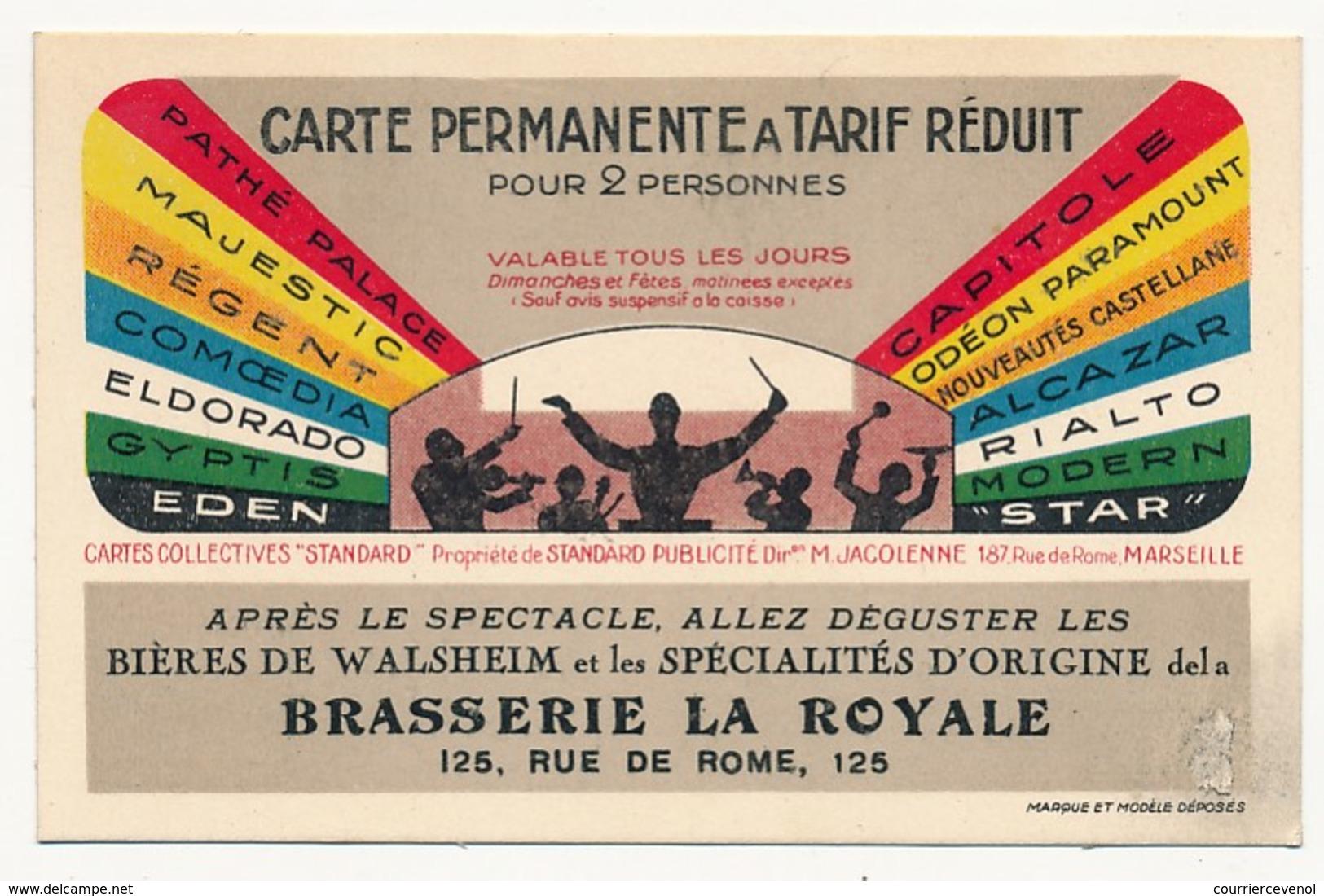 MARSEILLE - 2 Cartes De Réduction Aux Cinémas De La Ville - Publicités Brasserie La Royale Et Tailleurs Sasso - Advertising