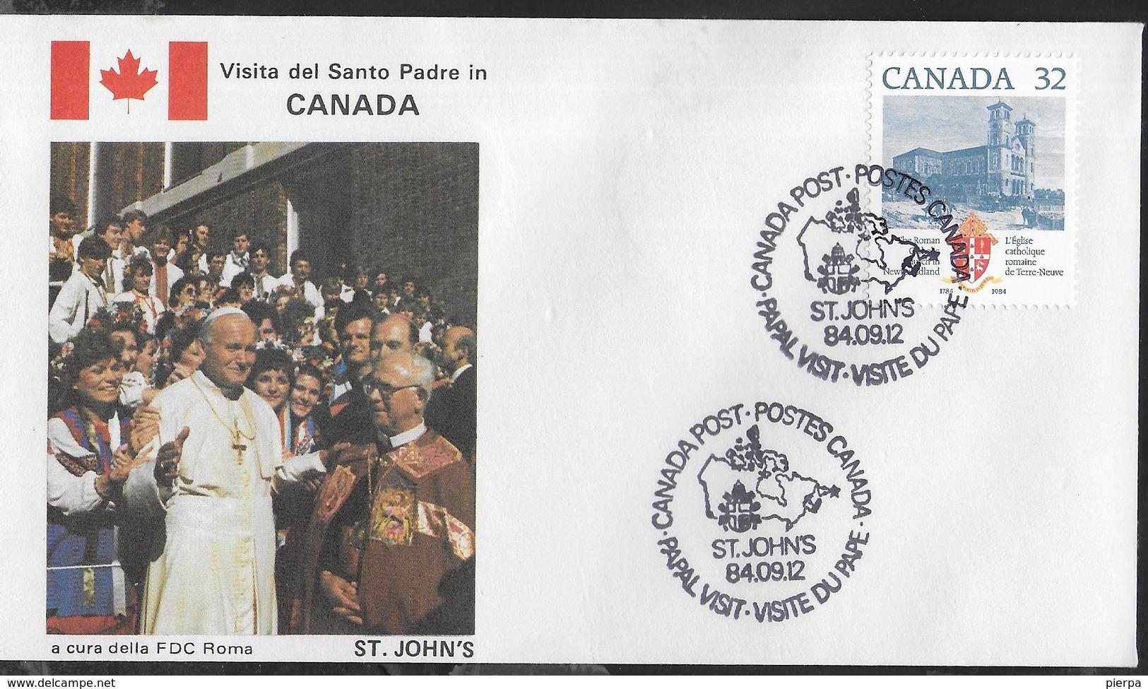 PAPAL VISIT - VISIT DU PAPE - 12.09.1984 - ANNULLO SPECIALE ST.JOHNS - Primi Giorni (FDC)