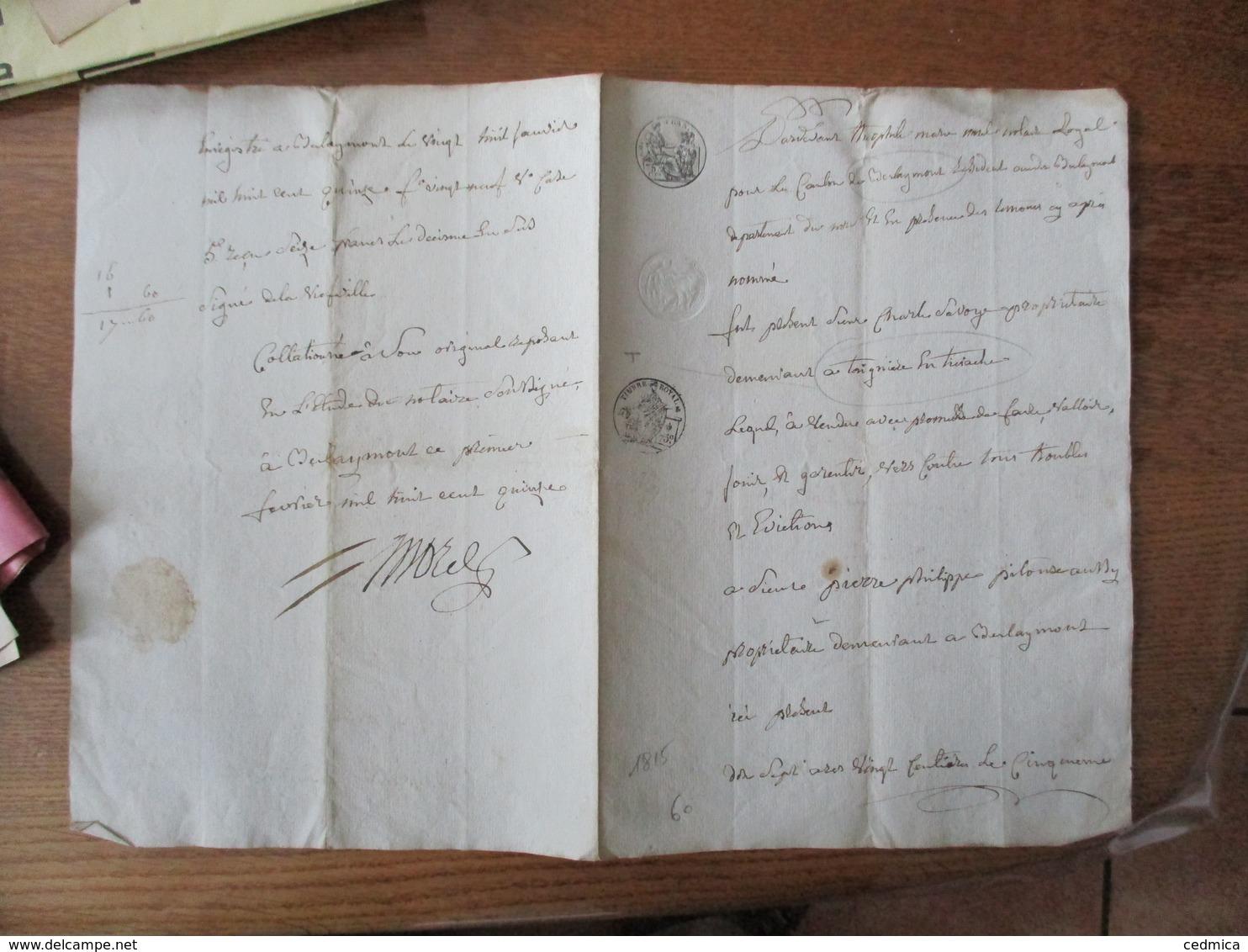1er FEVRIER 1815  VENTE PAR LE SIEUR CHARLES SAVOY A TAIGNIERE AU SIEUR PIERRE PHILIPPE ALPHONSE AUSSY A BERLAIMONT - Manuscrits