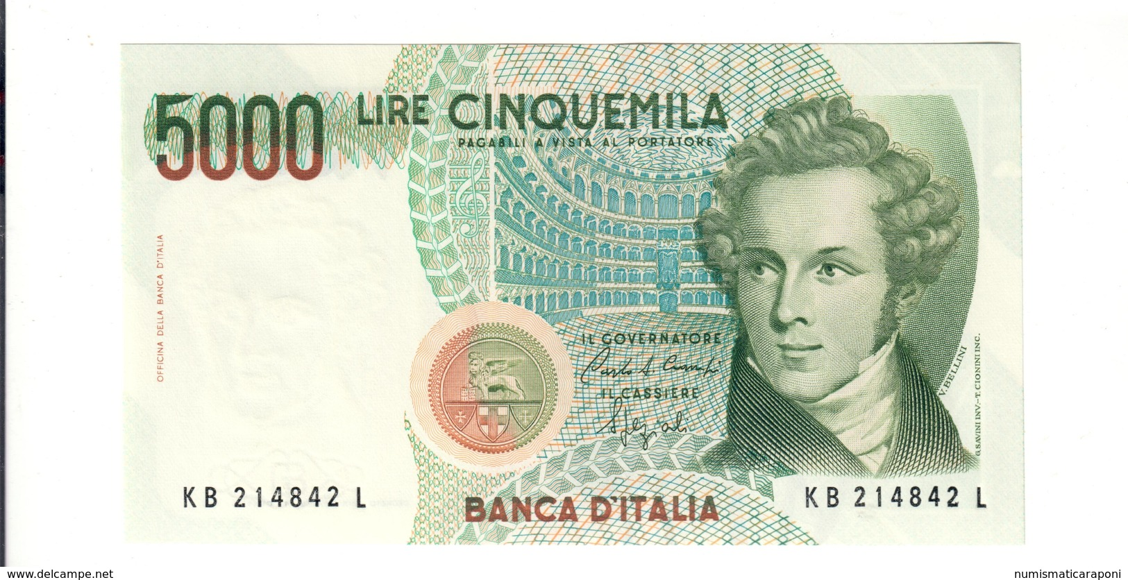 5000 LIRE Bellini Serie B 1988 Q.fds/fds  LOTTO 2723 - [ 2] 1946-… : Repubblica