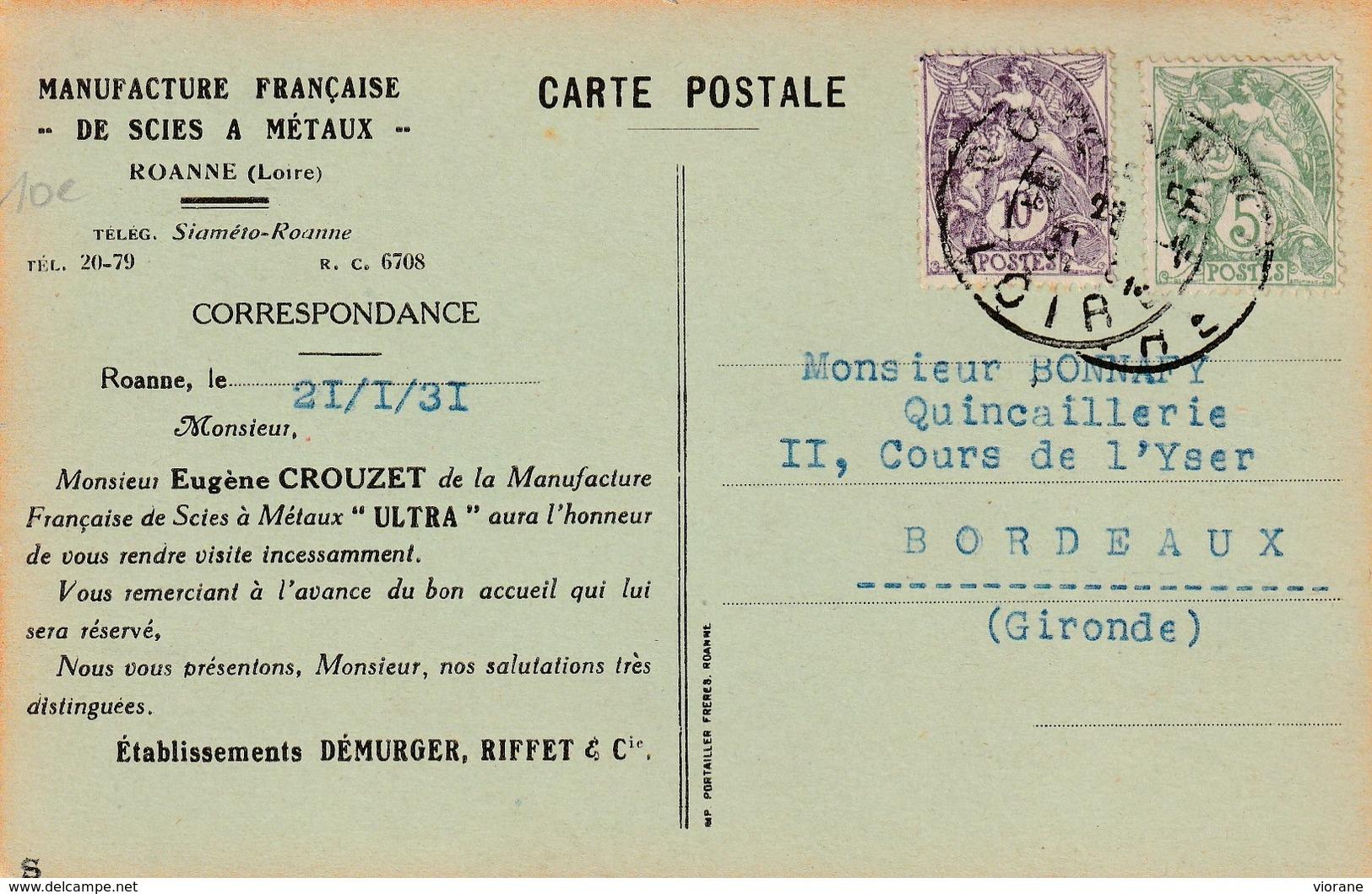 """Pub Manufacture Française De Scies à Métaux  """"ULTRA"""" - Roanne"""