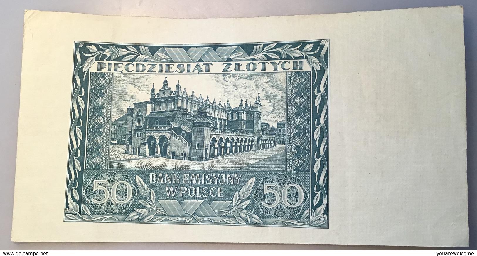 "Poland 1940 50 Zlotych Uniface Proof Banknote P.96 ""BANK EMISYJNY W POLSCE"" (Pologne Polen Billet Geldschein - Pologne"